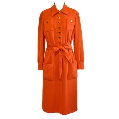 Norman Norell Neon Tangerine button front dress