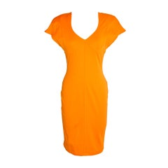 Thierry Mugler Yellow form-fitting tangerine asymmetric dress