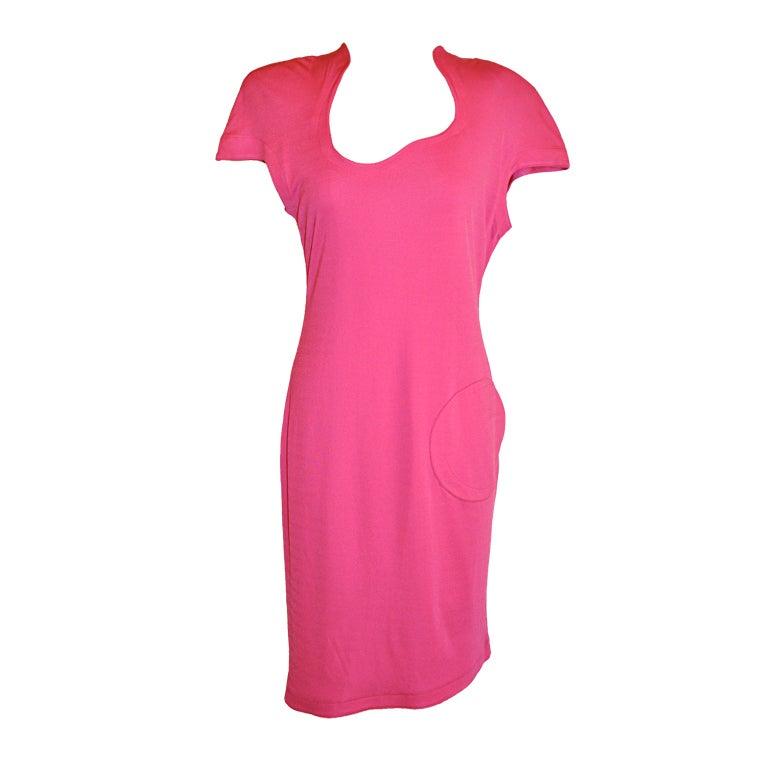 Thierry Mugler fuchsia jersey asymmetrically-cut dress