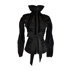 Iconic Tom Ford for Yves Saint Laurent black zippered ribbon top