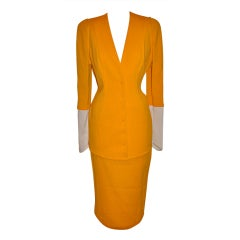 Thierry Mugler Asymmetric-cut Banana textured suit