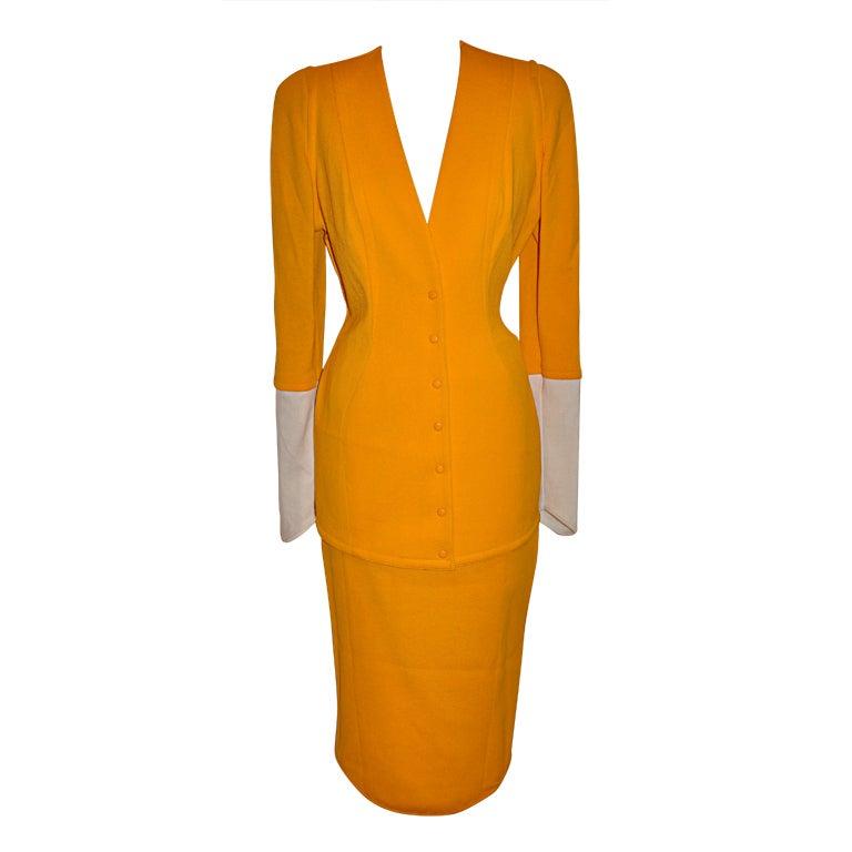 Thierry Mugler Asymmetric-cut Banana textured suit
