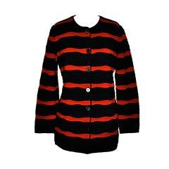 Rodier Black & Bourdeux textured knit jacket