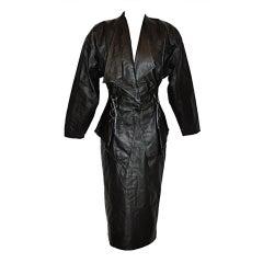 """Junko Koshino Black leather """"lace-up"""" suit"""