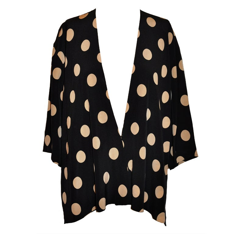 Gianfranco Ferre black & white silk polka-dot jacket