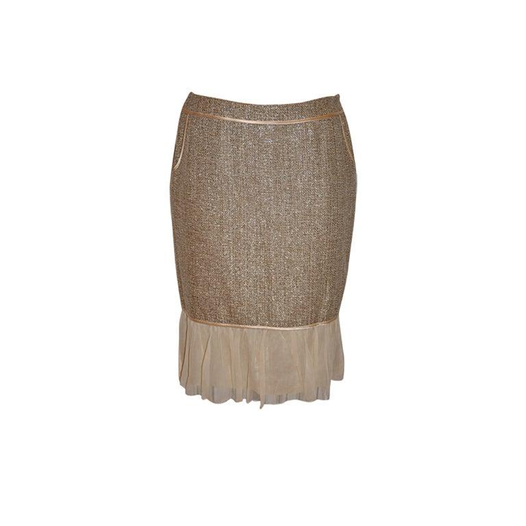 Burberrys metallic wool belend skirt with chiffon hem