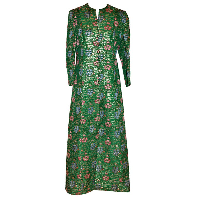 Bergdorf Goodman Green Embroidered Evening Coat