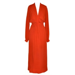 Geoffrey Beene engine-red plunging front gown