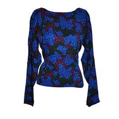 Yves Saint Laurent multi-colored floral silk blouse