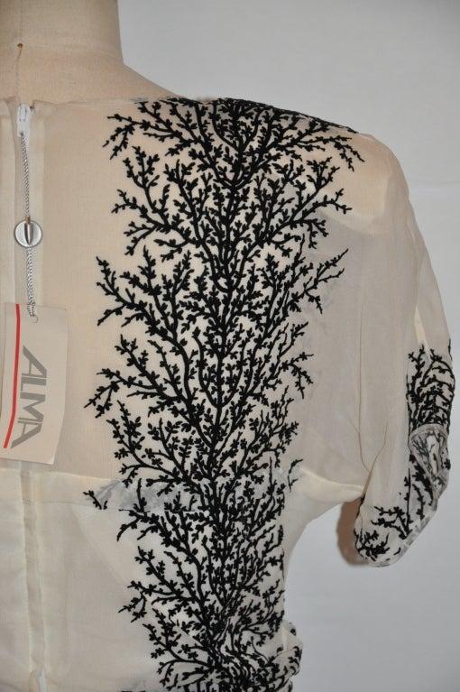 Gray Alma white chiffon with stenciled