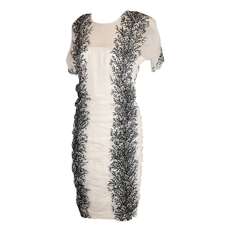 "Alma white chiffon with stenciled ""Branches"" dress"