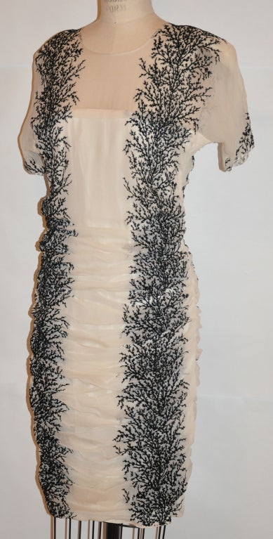 Alma white chiffon with stenciled