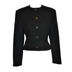 Gianni Versace black wool crepe waist jacket