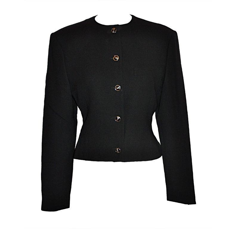 359465286a Gianni Versace black wool crepe waist jacket
