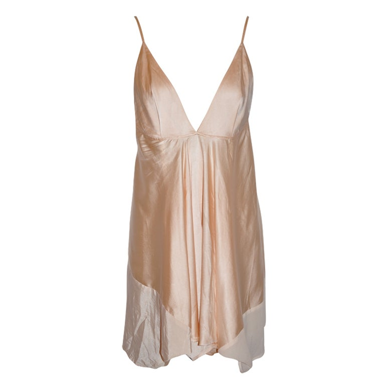 Ann Demeulemeester asymmetrical Rose silk/chiffon slip dress For Sale