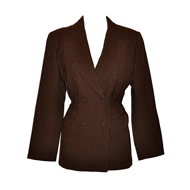 Jean Paul Gaultier Coco Brown wool crepe jacket 1