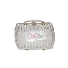 Styled by Bounty White Basket-weave with Lucite hardware