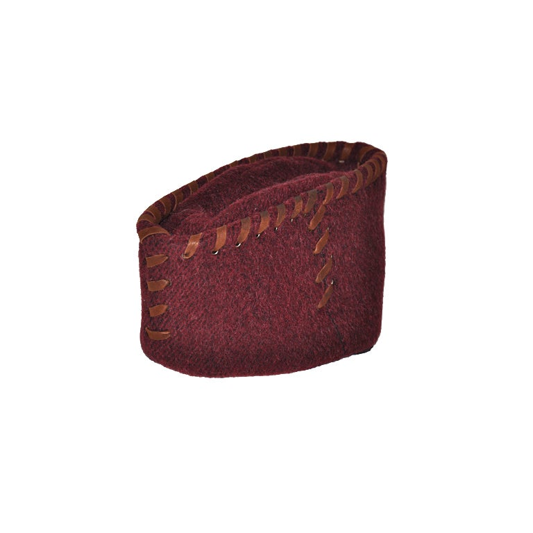 Prada Burgundy Alpaca wool close-fitting hat