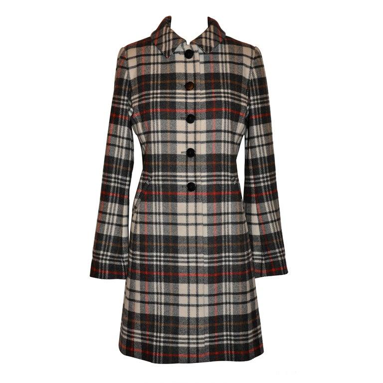Ages B. wool plaid coat For Sale