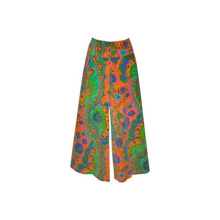 Vintage Velour floral print maxi skirt For Sale