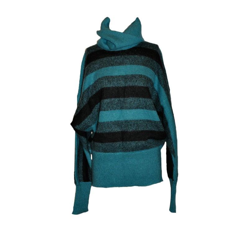 Pierre Cardin Turquoise-stripe turtleneck pullover