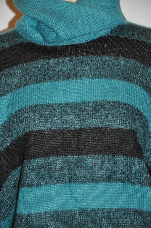 Blue Pierre Cardin Turquoise-stripe turtleneck pullover For Sale