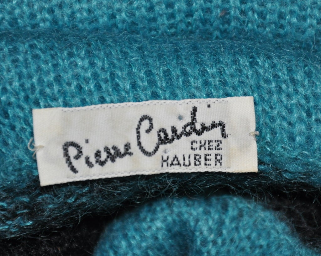 Pierre Cardin Turquoise-stripe turtleneck pullover In New Condition For Sale In New York, NY