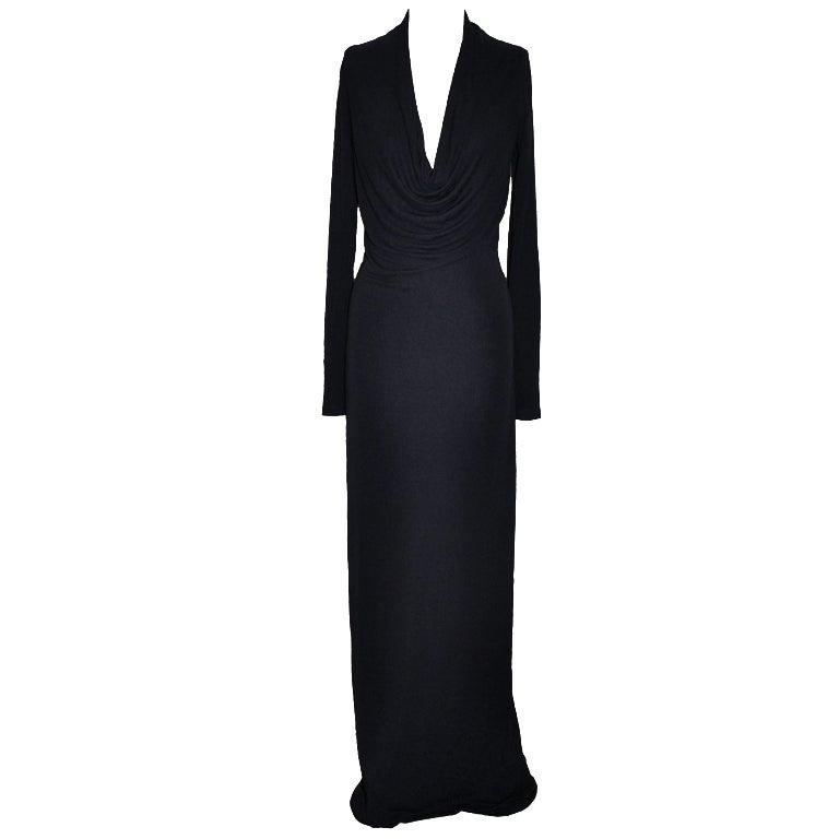 Donna Karan Dark Plum Jersey Form-Fitting Maxi Dress 1