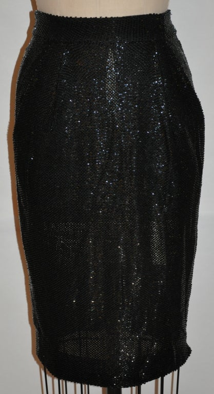 Donna Karan Black beaded evening ensemble For Sale 1