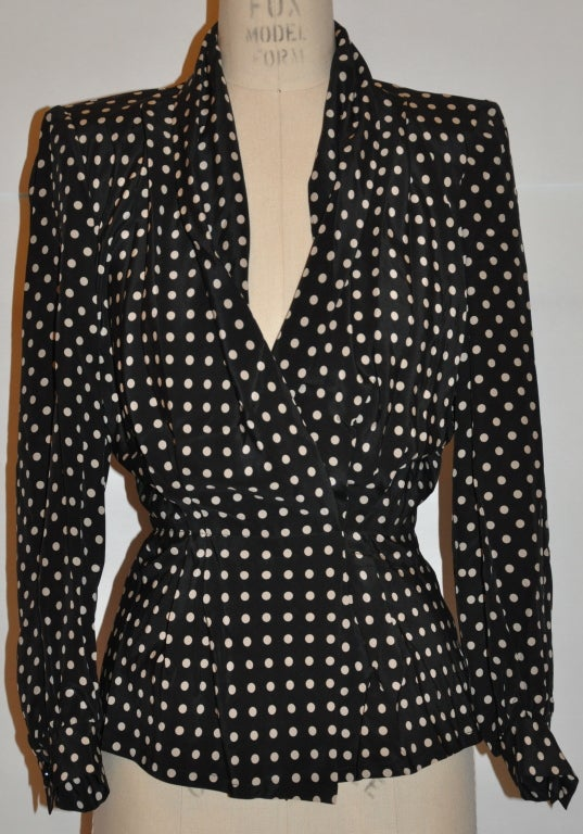 Givenchy silk Black & white polka dot blouse 2