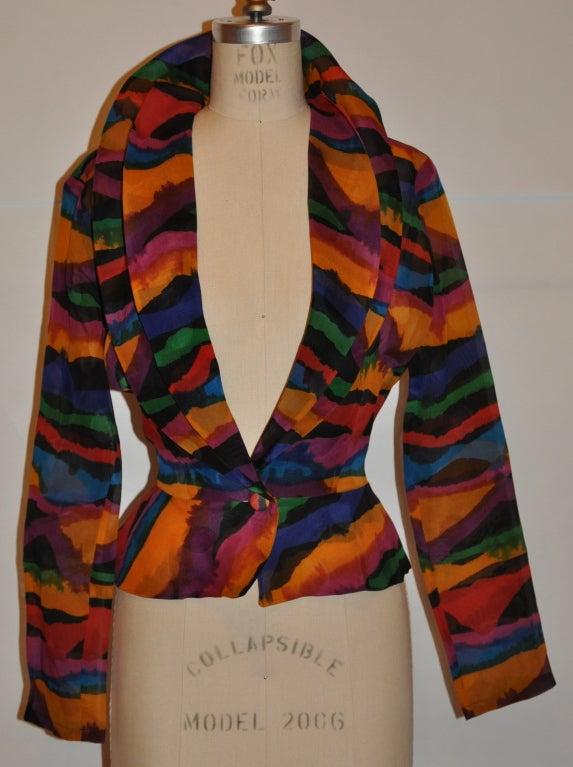 Missoni Multi-Colored Abstract Print Silk Organza Blouse 2