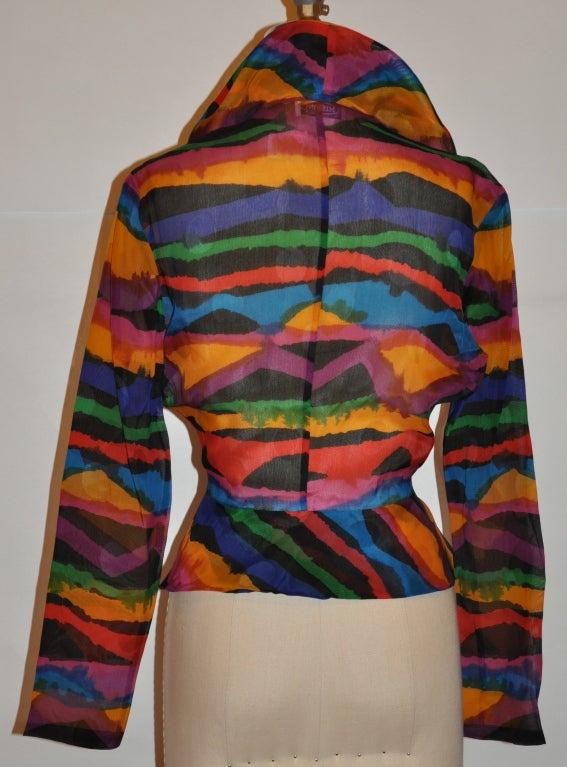 Missoni Multi-Colored Abstract Print Silk Organza Blouse 3