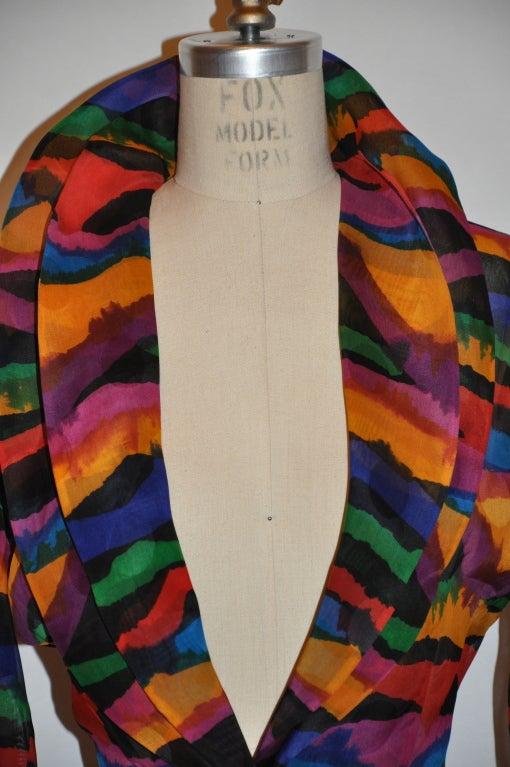 Missoni Multi-Colored Abstract Print Silk Organza Blouse 4