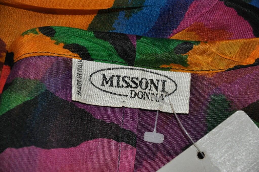 Missoni Multi-Colored Abstract Print Silk Organza Blouse 6