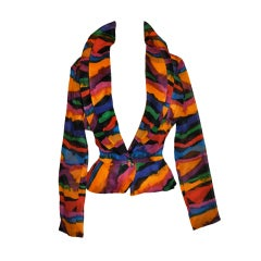 Missoni Multi-Colored Abstract Print Silk Organza Blouse