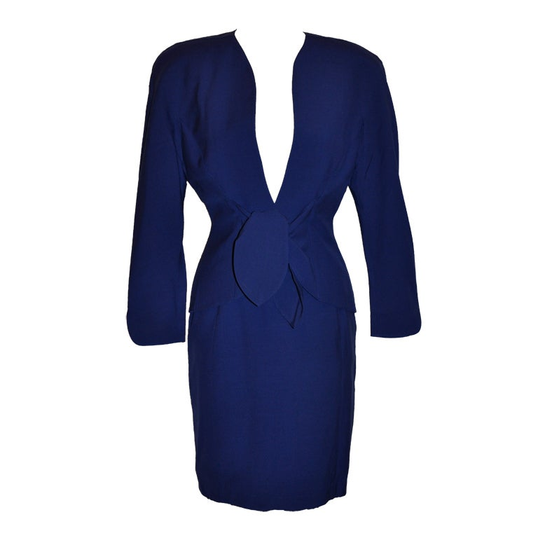 Thierry Mugler Signature Sculpted Form-Fitting 2-piece Suit & Skirt Ensemble For Sale