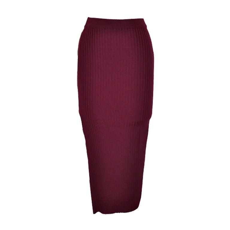 Dolce & Gabbana burgundy knit skirt 1