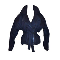 Carolyn Roehm Navy zipper-wrap jacket