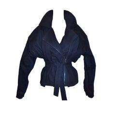 Carolyn Roehm Navy zipper-wrap jacket