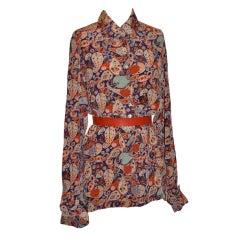 Loulou De la Falaise crepe de chine multi-colored blouse