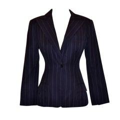 Norma Kamali navy pinstripe jacket