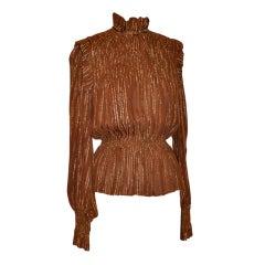 Oscar de la Renta Bronze chiffon metallic ruffled blouse