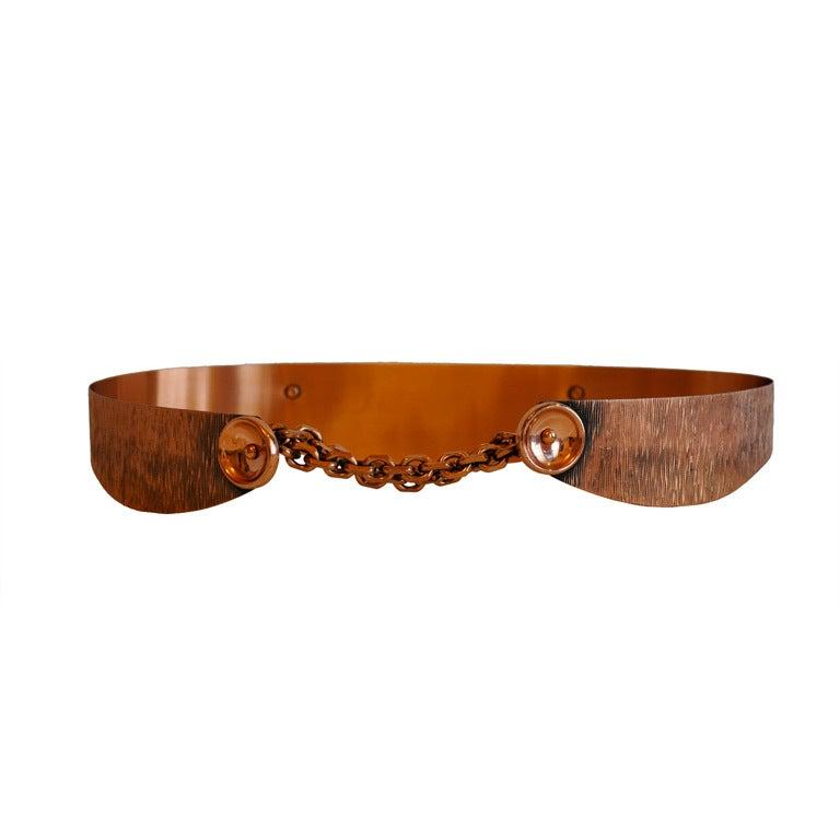 Renoir Copper belt with chain accent