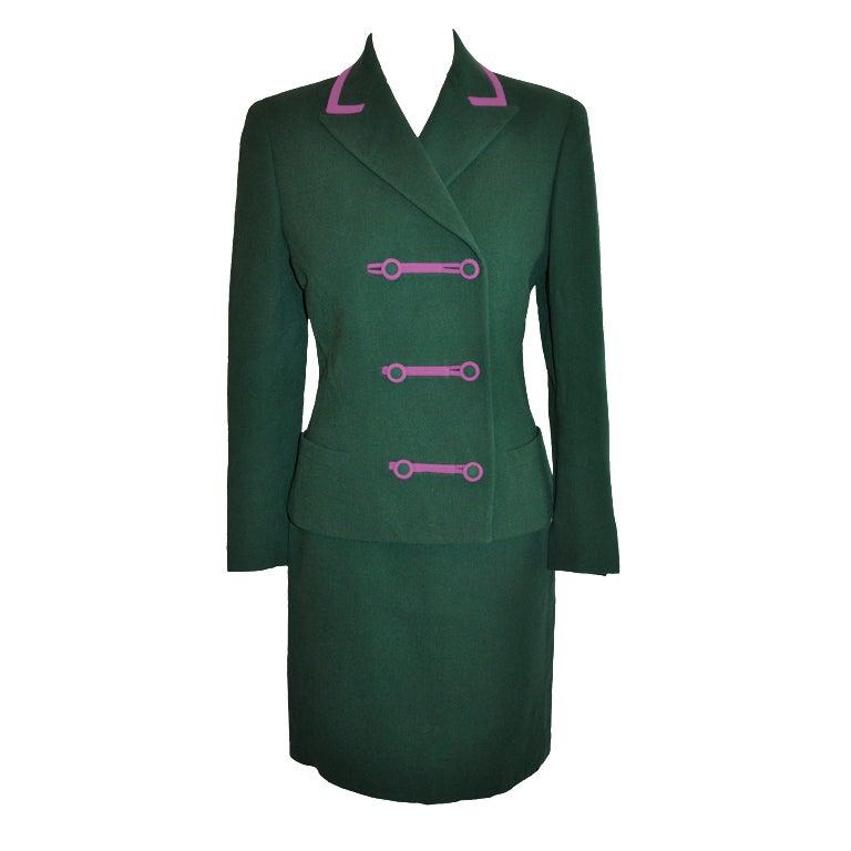 Gianni Versace Couture Green & Fuchsia ensemble
