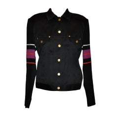 Sonia Rykiel black jacket with multi-color sleeves