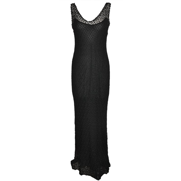 Donna Karan black crochet body-hugging dress