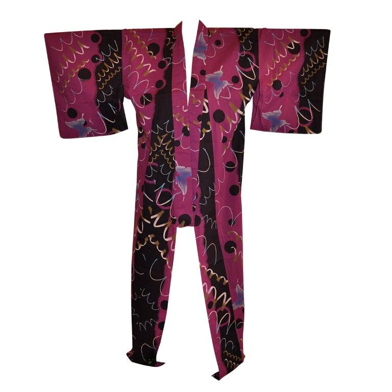 Japanese Cotton Purple kimono at 1stdibs