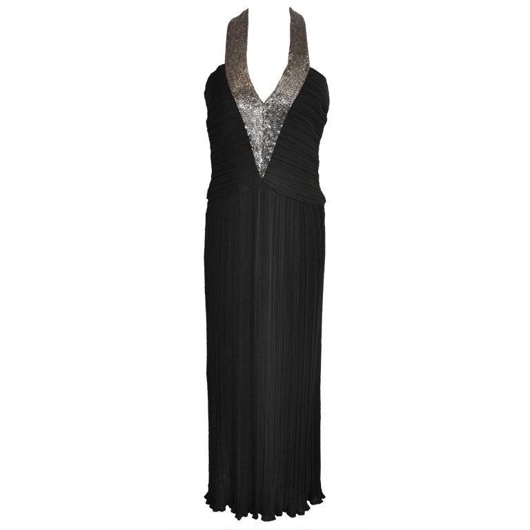 Alfred Bosand bugle beaded halter pleated gown