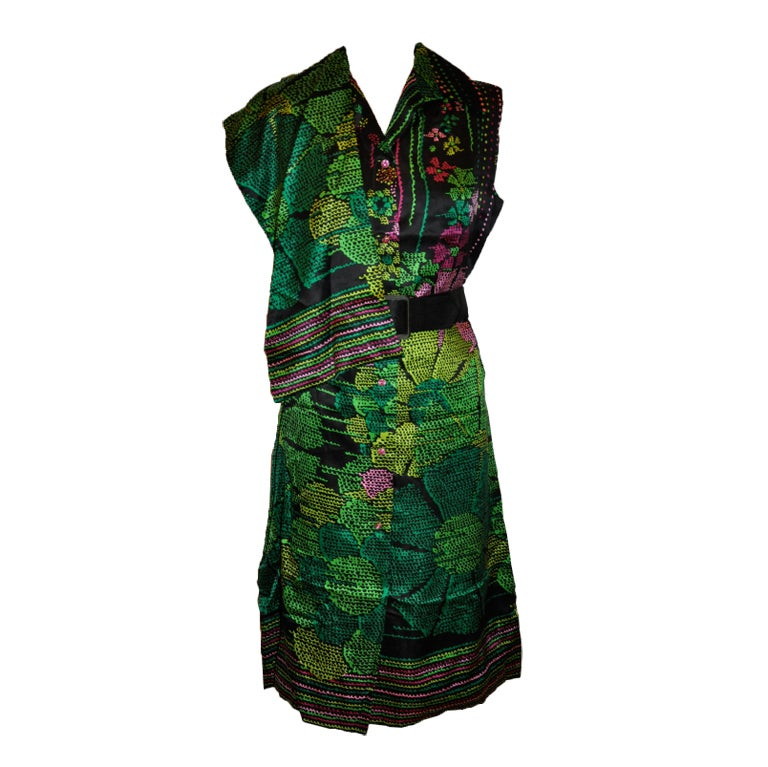 Pauline Trigere silk floral dress with matching scarf & belt 1