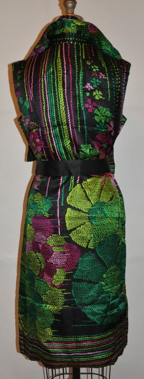 Pauline Trigere silk floral dress with matching scarf & belt 4